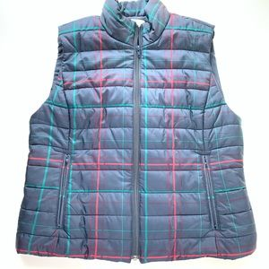 Blue and red plaid  LOFT Puffer Vest Size Large